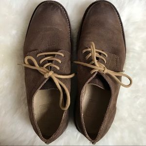 Frye Brown Leather Loafers Lace Up